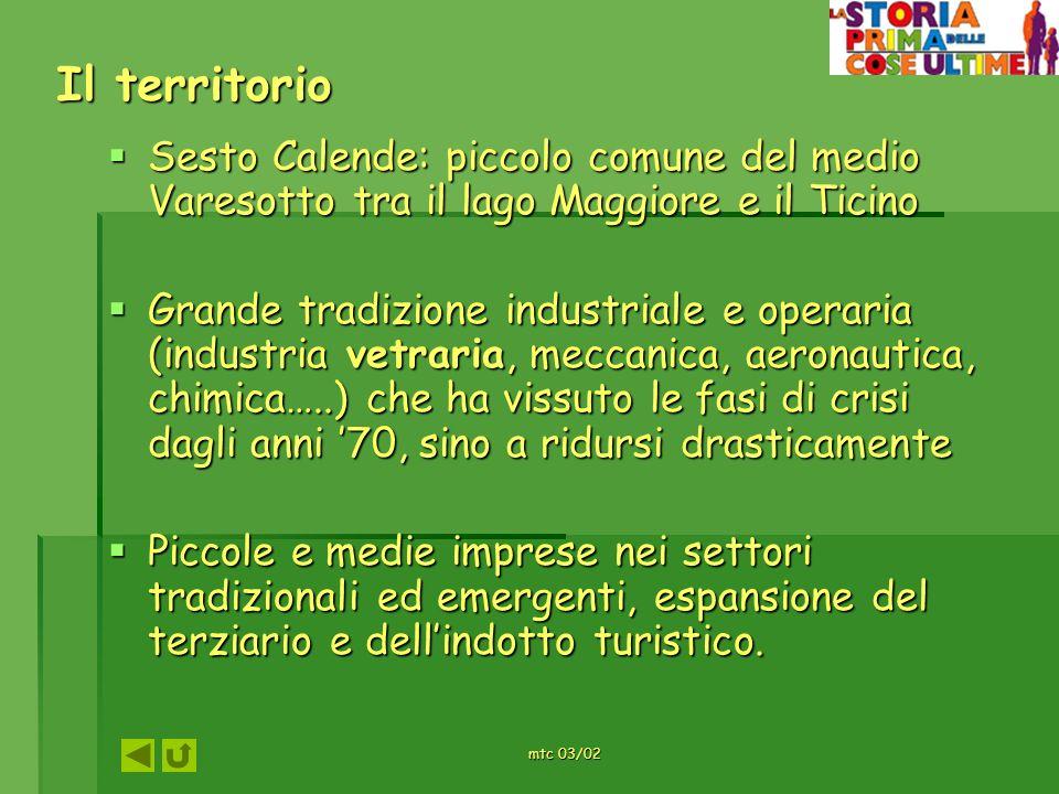 Il territorioSesto Calende: piccolo comune del medio Varesotto tra il lago Maggiore e il Ticino.