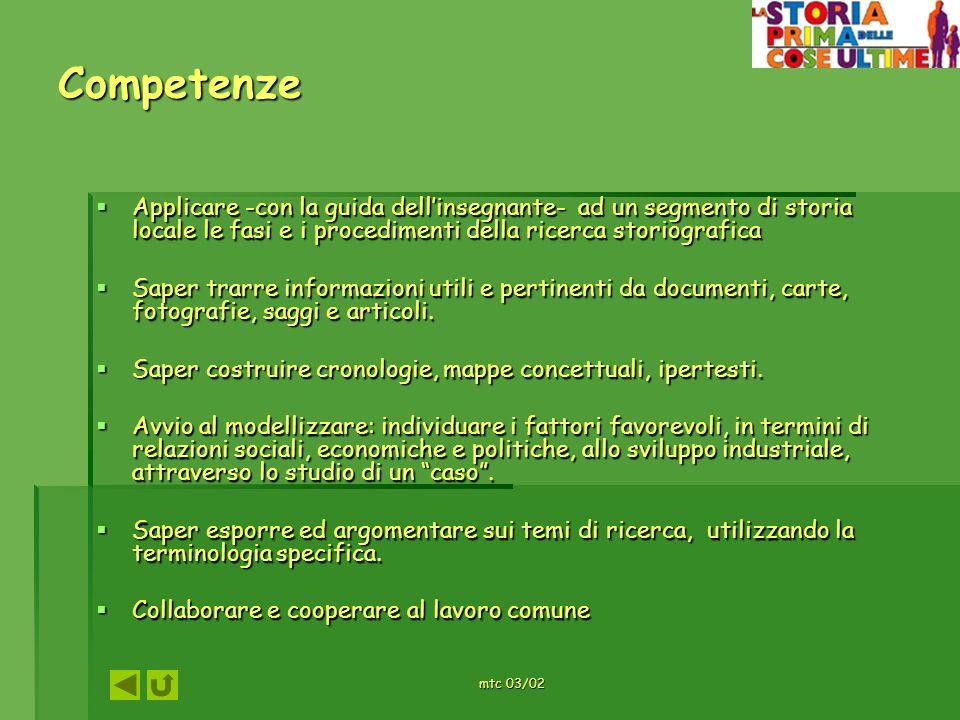 Competenze Applicare -con la guida dell'insegnante- ad un segmento di storia locale le fasi e i procedimenti della ricerca storiografica.