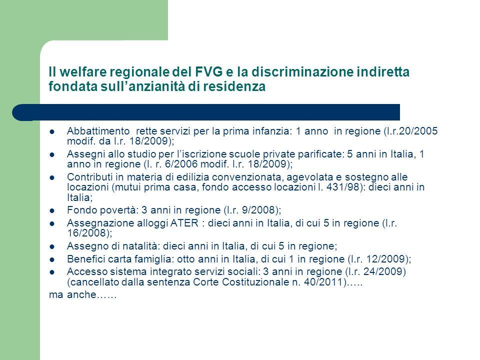 Il welfare regionale del FVG e la discriminazione indiretta fondata sull'anzianità di residenza
