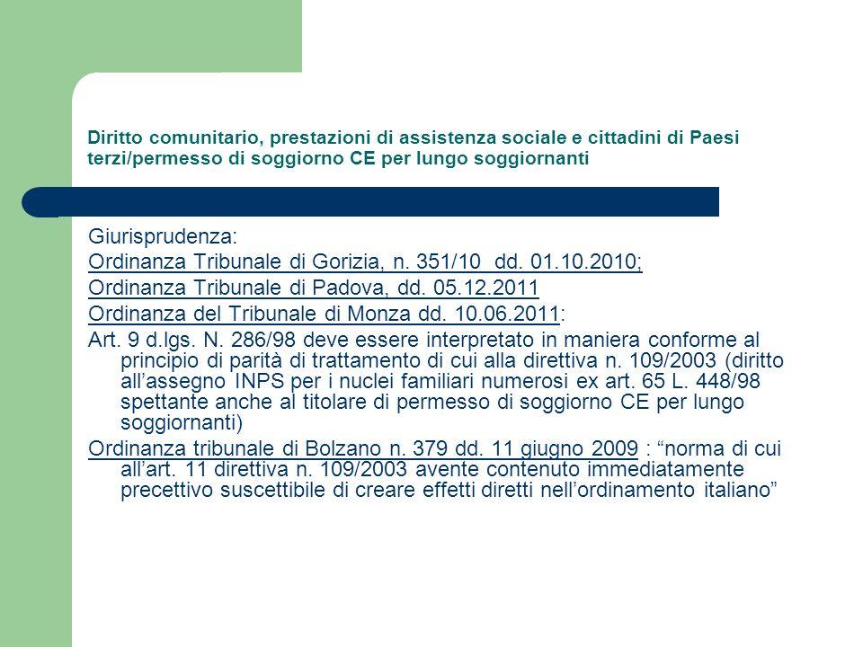 Ordinanza Tribunale di Gorizia, n. 351/10 dd. 01.10.2010;