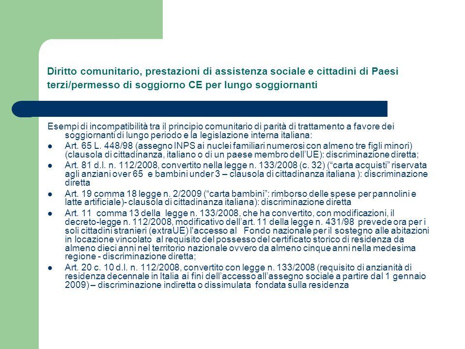 Diritto comunitario, prestazioni di assistenza sociale e cittadini di Paesi terzi/permesso di soggiorno CE per lungo soggiornanti