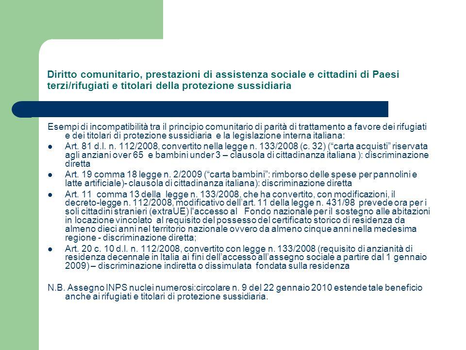 Diritto comunitario, prestazioni di assistenza sociale e cittadini di Paesi terzi/rifugiati e titolari della protezione sussidiaria