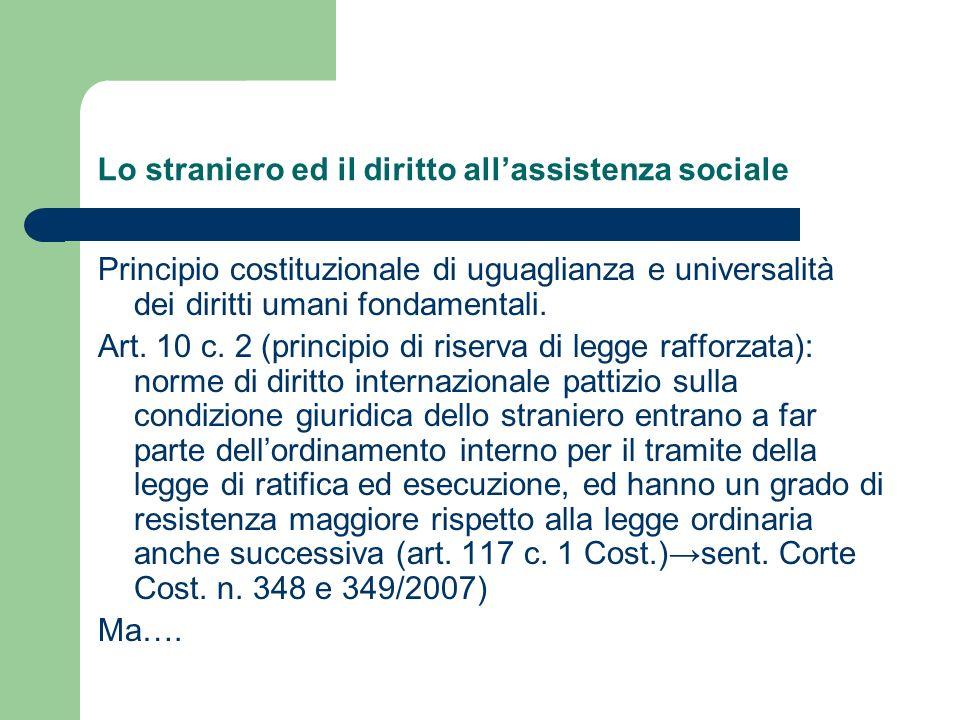 Lo straniero ed il diritto all'assistenza sociale