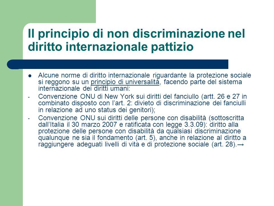 Il principio di non discriminazione nel diritto internazionale pattizio