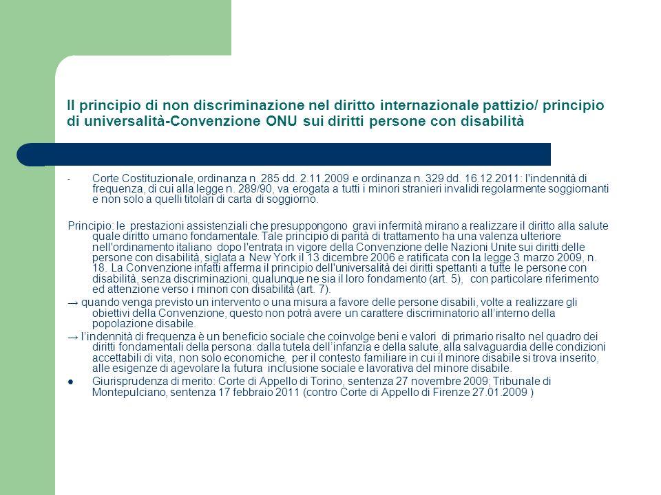 Il principio di non discriminazione nel diritto internazionale pattizio/ principio di universalità-Convenzione ONU sui diritti persone con disabilità