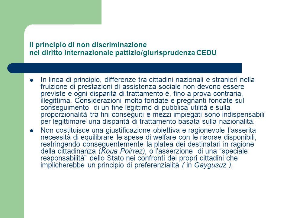 Il principio di non discriminazione nel diritto internazionale pattizio/giurisprudenza CEDU