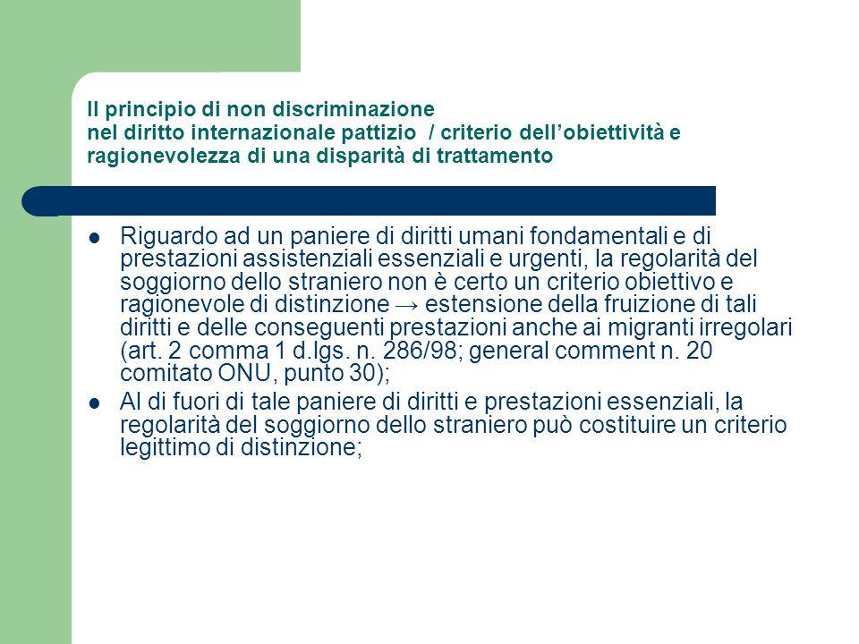 Il principio di non discriminazione nel diritto internazionale pattizio / criterio dell'obiettività e ragionevolezza di una disparità di trattamento