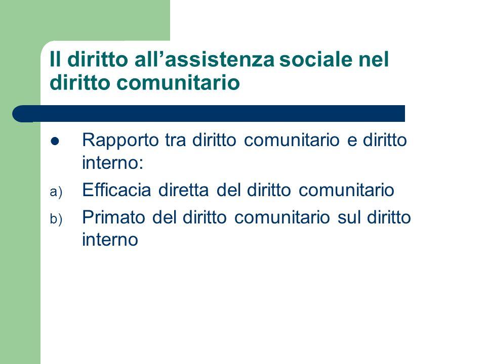 Il diritto all'assistenza sociale nel diritto comunitario