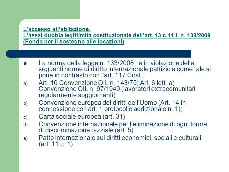 Carta sociale europea (art. 31)