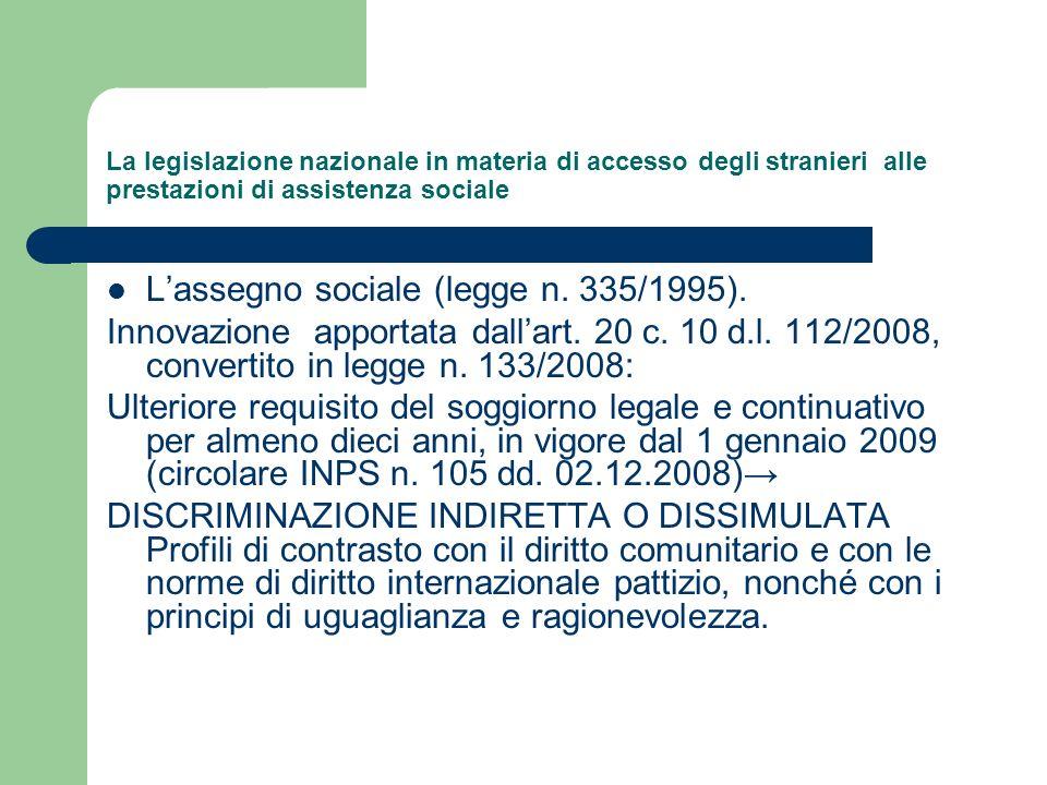 L'assegno sociale (legge n. 335/1995).