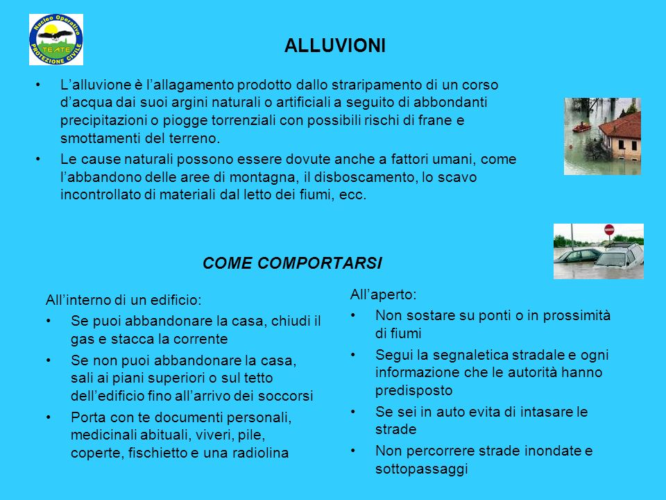 ALLUVIONI COME COMPORTARSI