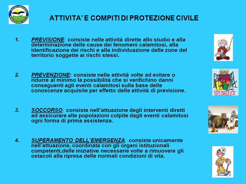 ATTIVITA' E COMPITI DI PROTEZIONE CIVILE