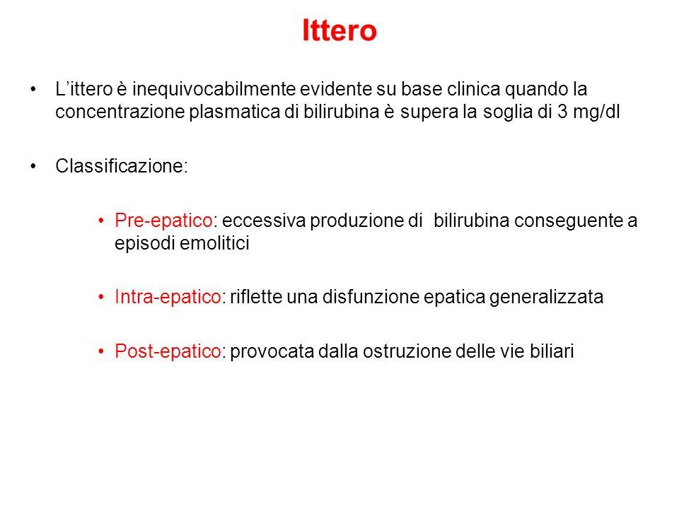 Ittero L'ittero è inequivocabilmente evidente su base clinica quando la concentrazione plasmatica di bilirubina è supera la soglia di 3 mg/dl.