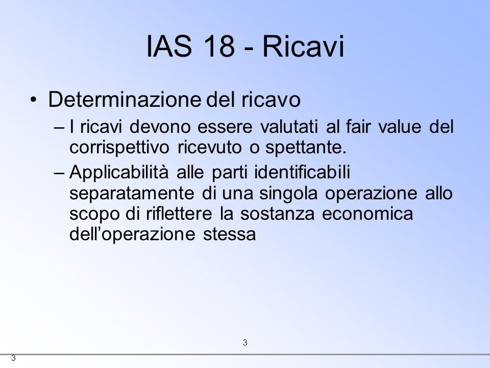IAS 18 - Ricavi Determinazione del ricavo