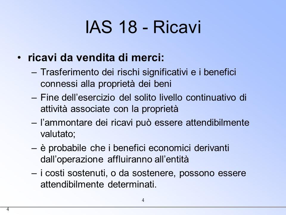 IAS 18 - Ricavi ricavi da vendita di merci: