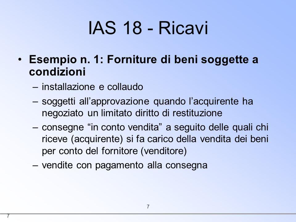 IAS 18 - Ricavi Esempio n. 1: Forniture di beni soggette a condizioni