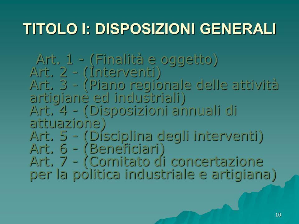 TITOLO I: DISPOSIZIONI GENERALI