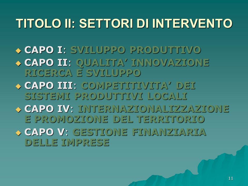 TITOLO II: SETTORI DI INTERVENTO