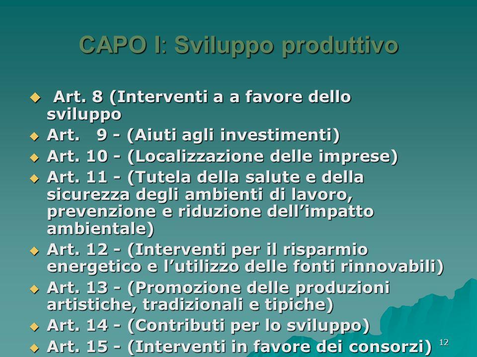 CAPO I: Sviluppo produttivo