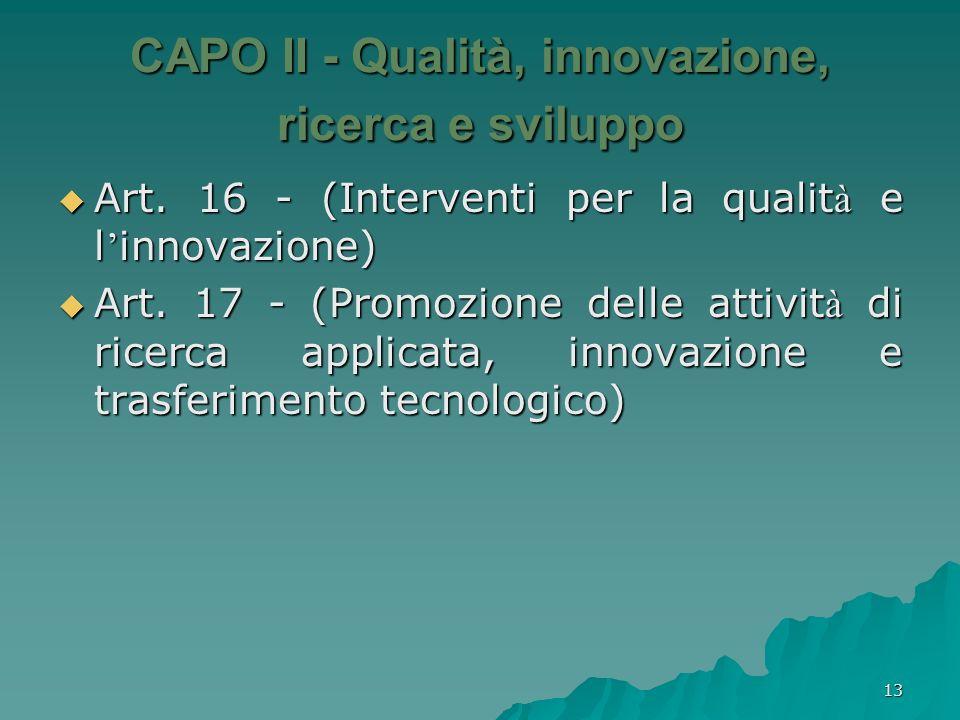 CAPO II - Qualità, innovazione, ricerca e sviluppo
