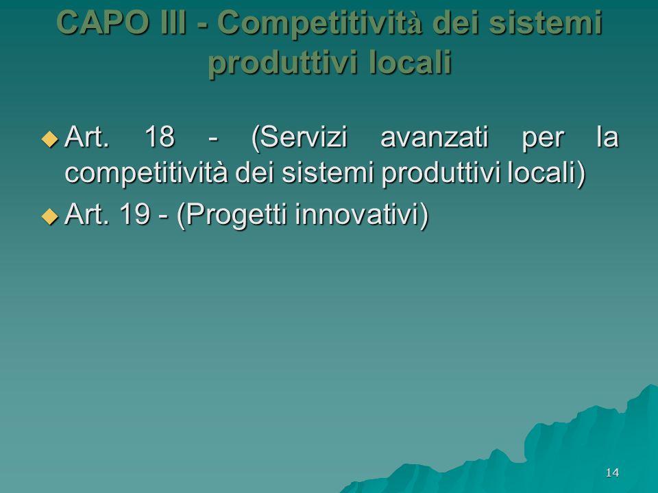 CAPO III - Competitività dei sistemi produttivi locali