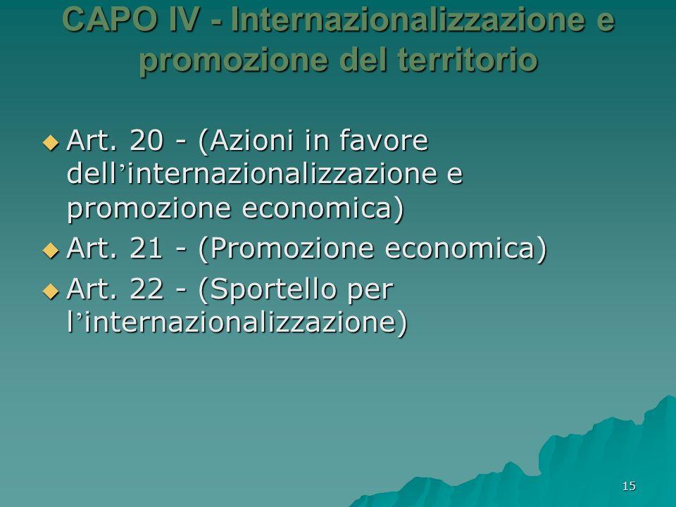 CAPO IV - Internazionalizzazione e promozione del territorio