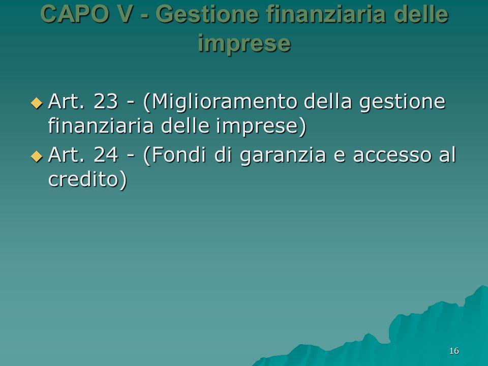 CAPO V - Gestione finanziaria delle imprese
