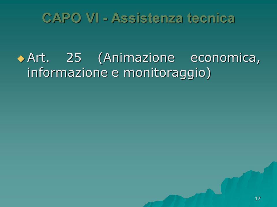 CAPO VI - Assistenza tecnica