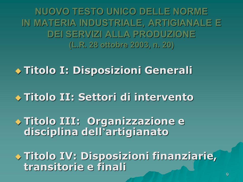 Titolo I: Disposizioni Generali Titolo II: Settori di intervento