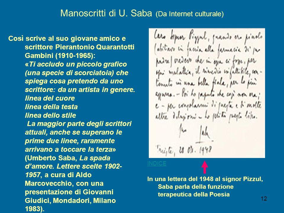 Manoscritti di U. Saba (Da Internet culturale)