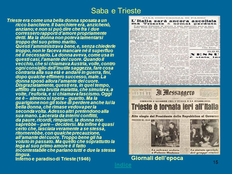 Saba e Trieste Giornali dell'epoca Indice