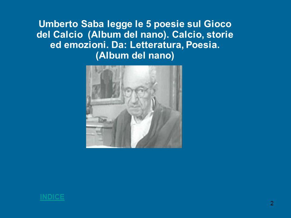 Umberto Saba legge le 5 poesie sul Gioco del Calcio (Album del nano)