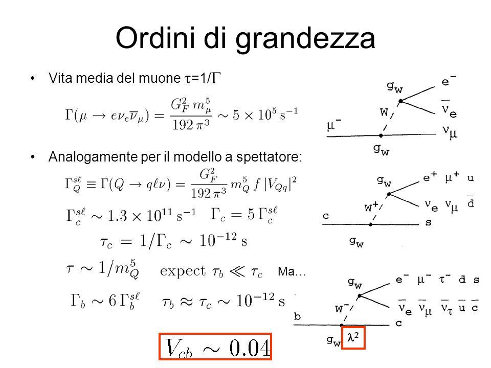 Ordini di grandezza Vita media del muone t=1/G