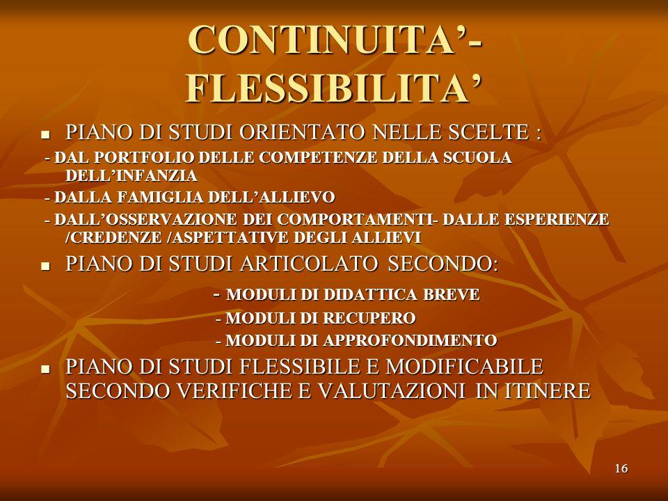 CONTINUITA'-FLESSIBILITA'