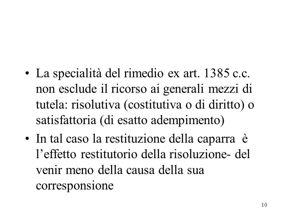 La specialità del rimedio ex art. 1385 c. c