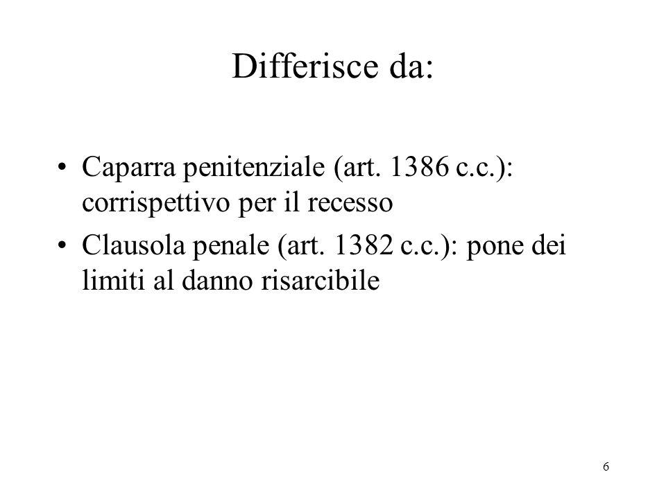 Differisce da: Caparra penitenziale (art. 1386 c.c.): corrispettivo per il recesso.