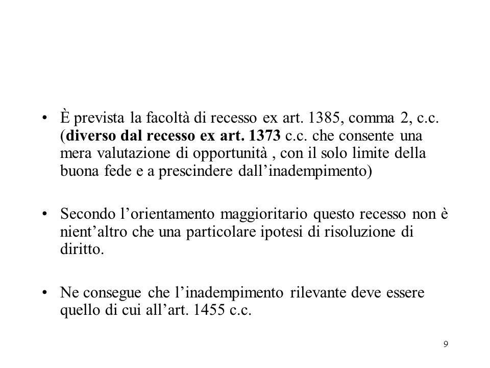 È prevista la facoltà di recesso ex art. 1385, comma 2, c. c