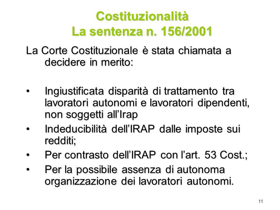 Costituzionalità La sentenza n. 156/2001