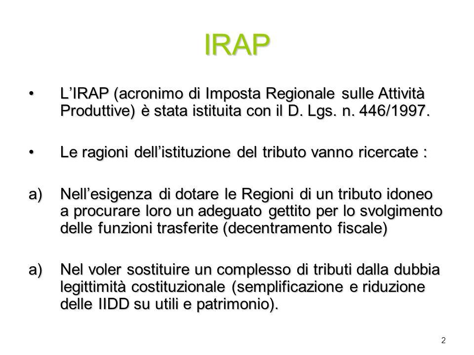 IRAP L'IRAP (acronimo di Imposta Regionale sulle Attività Produttive) è stata istituita con il D. Lgs. n. 446/1997.