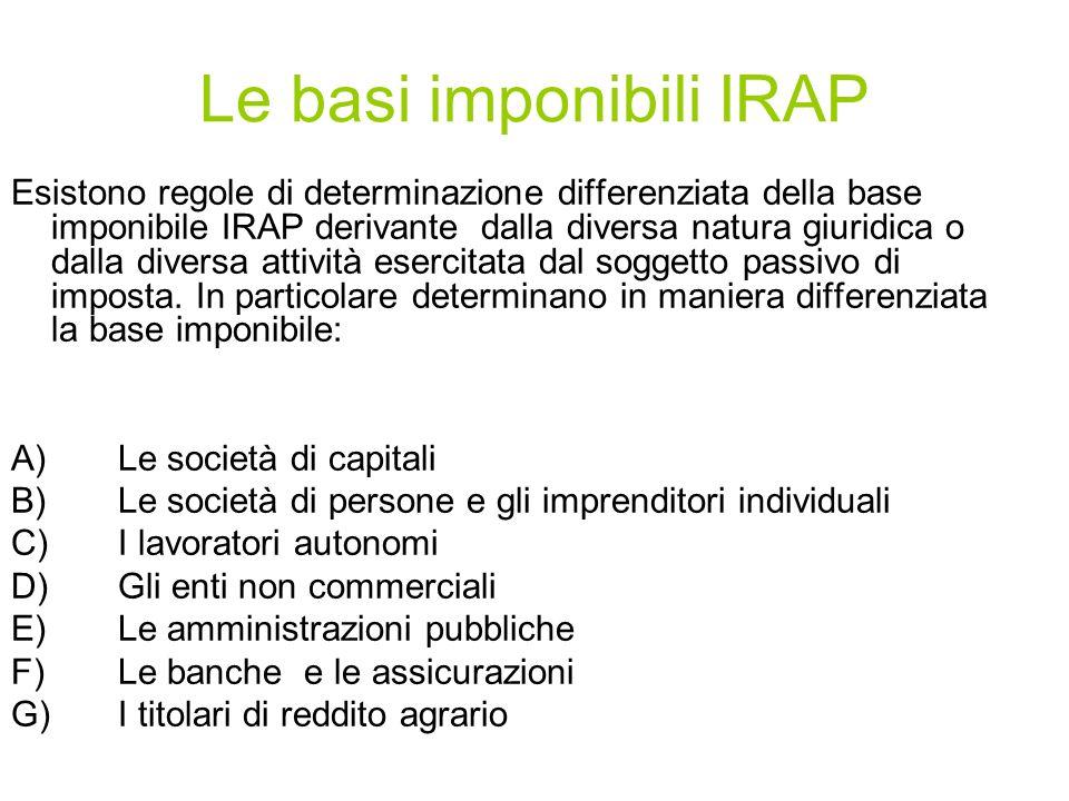 Le basi imponibili IRAP