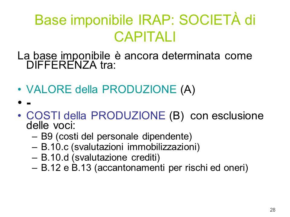 Base imponibile IRAP: SOCIETÀ di CAPITALI