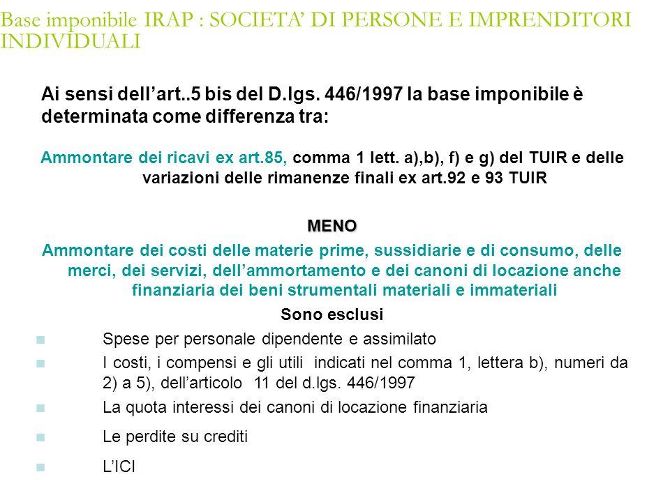 Base imponibile IRAP : SOCIETA' DI PERSONE E IMPRENDITORI INDIVIDUALI