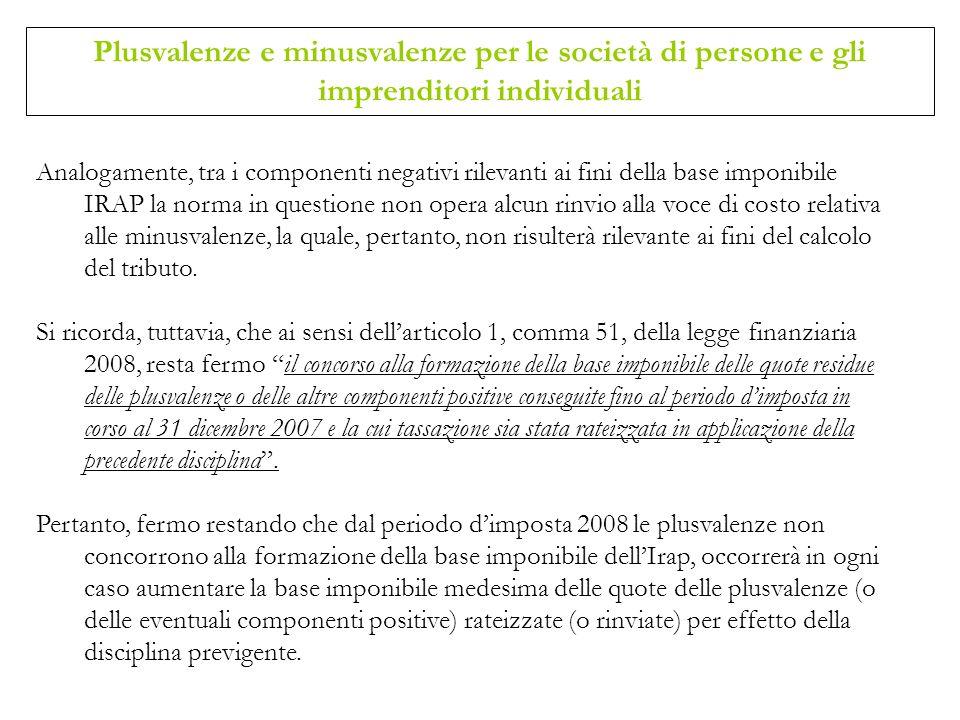 Plusvalenze e minusvalenze per le società di persone e gli imprenditori individuali