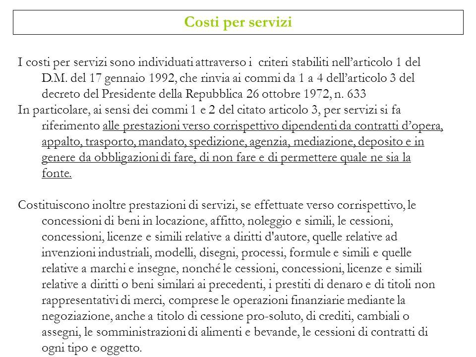 Costi per servizi