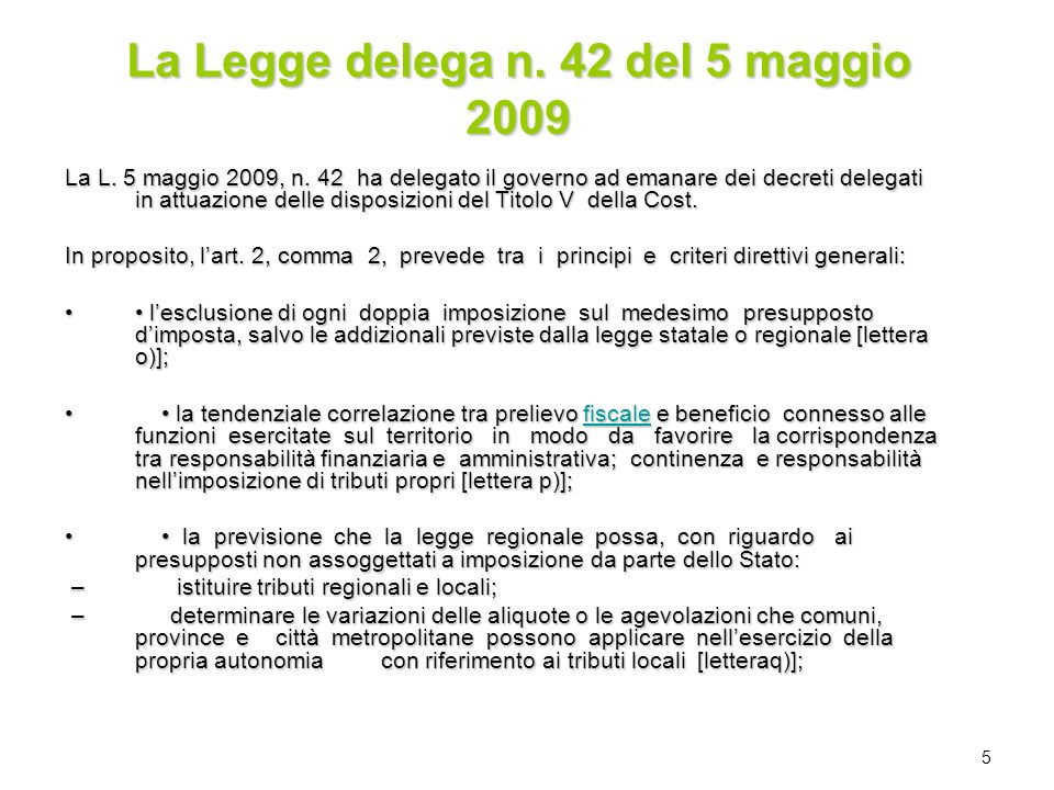 La Legge delega n. 42 del 5 maggio 2009