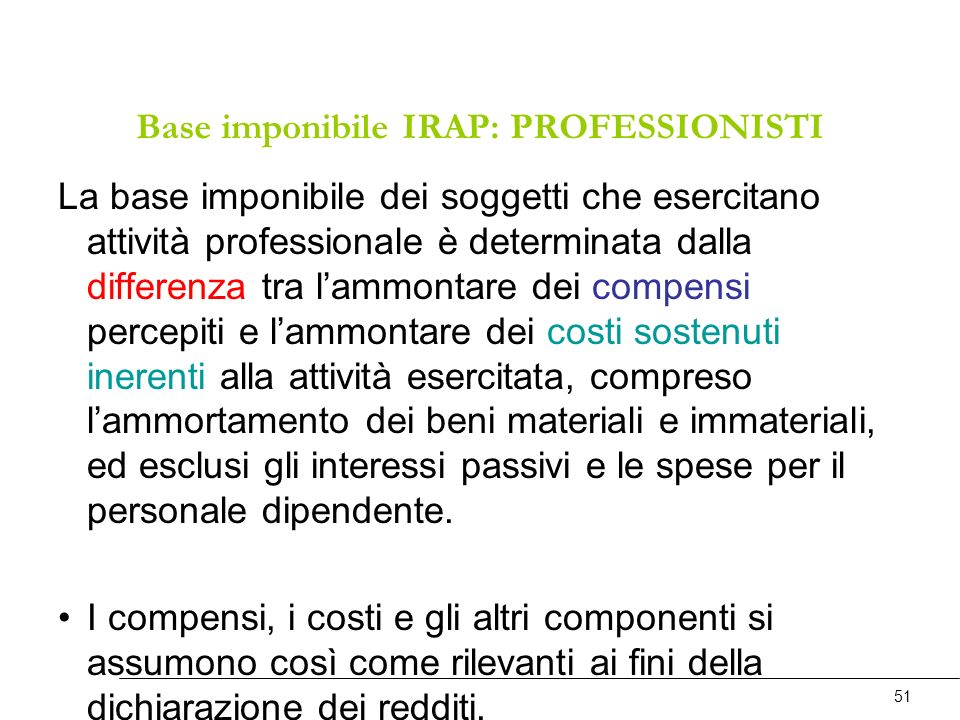 Base imponibile IRAP: PROFESSIONISTI