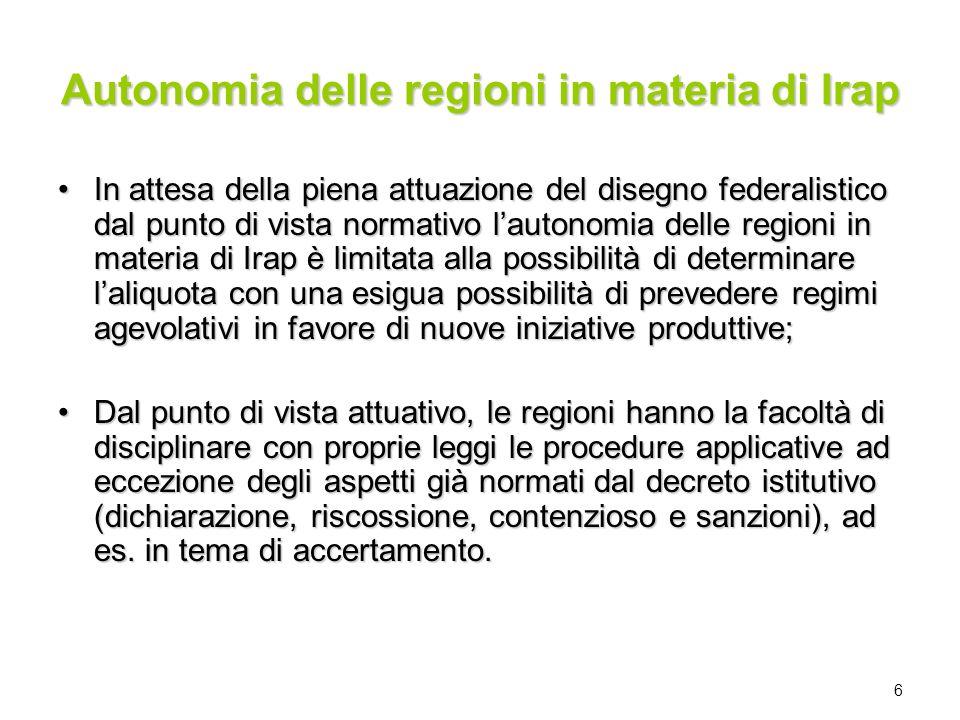 Autonomia delle regioni in materia di Irap