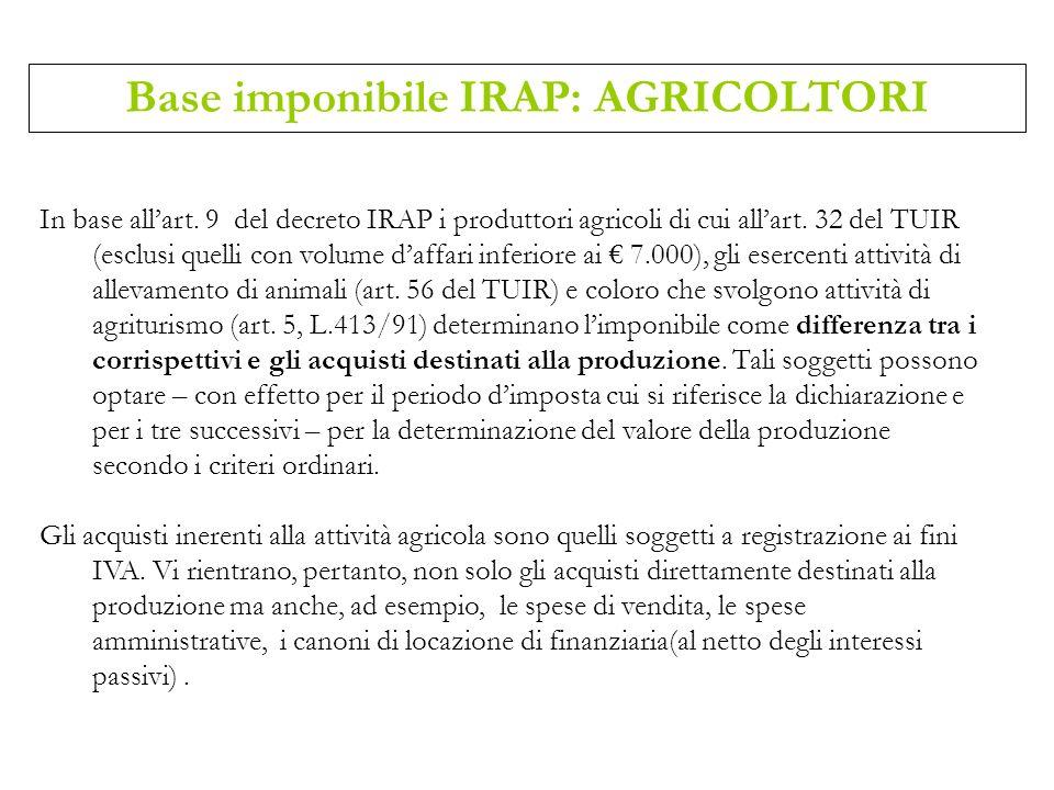 Base imponibile IRAP: AGRICOLTORI