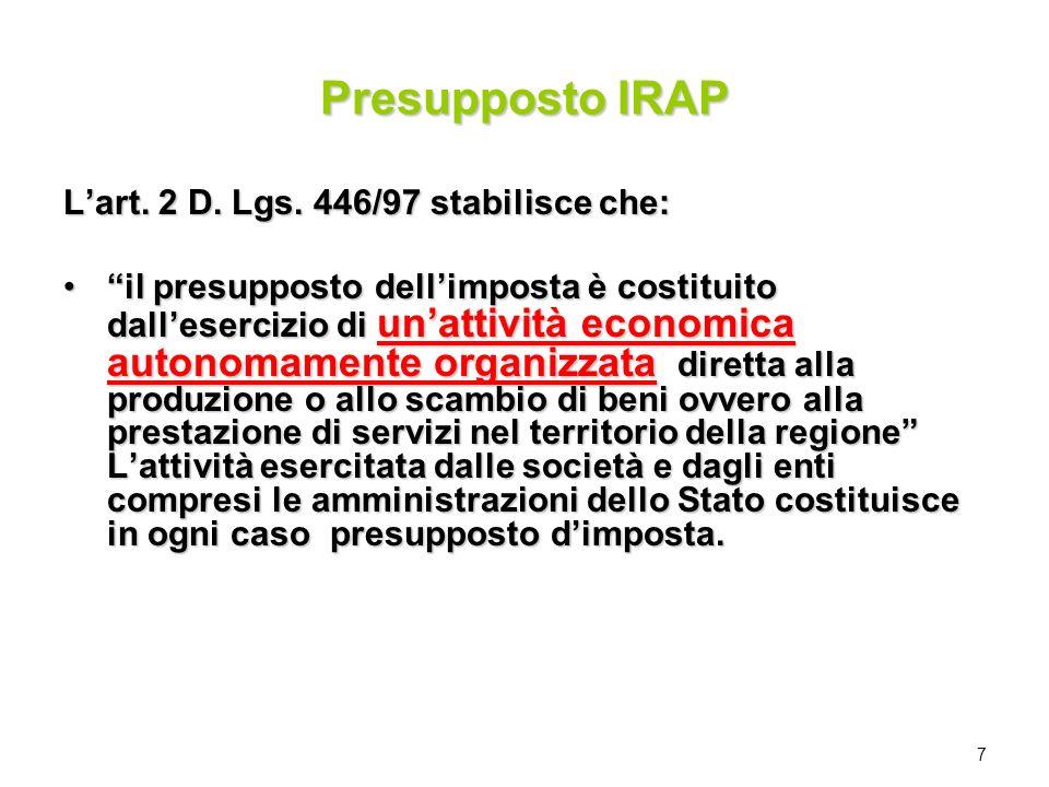 Presupposto IRAP L'art. 2 D. Lgs. 446/97 stabilisce che: