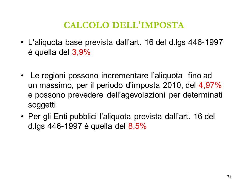 CALCOLO DELL'IMPOSTA L'aliquota base prevista dall'art. 16 del d.lgs 446-1997 è quella del 3,9%